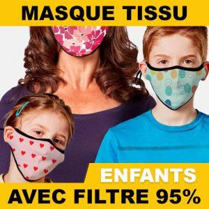 Masques en tissu enfants avec filtres nanofibres