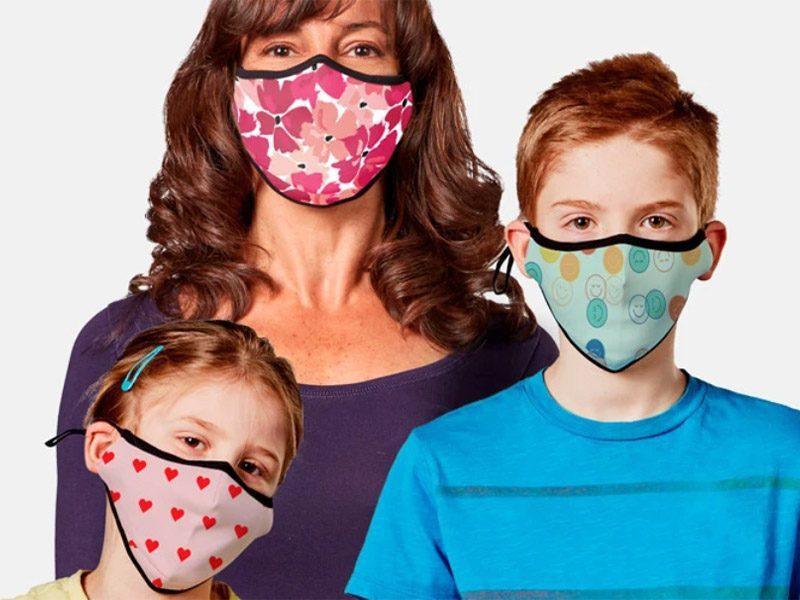 Masques en tissu pour toute la famille avec filtres nanofibres et lanières réglables